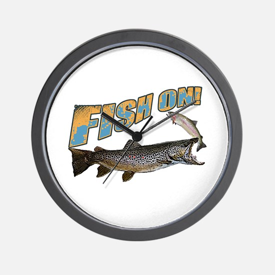 Fish on brown trout feeding Wall Clock