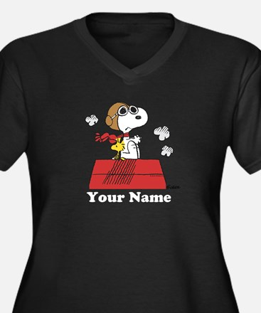 Peanuts Flyi Women's Plus Size V-Neck Dark T-Shirt