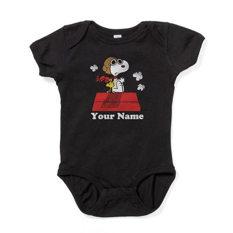 CafePress Peanuts Flying Ace Personalized Baby Bodysuit