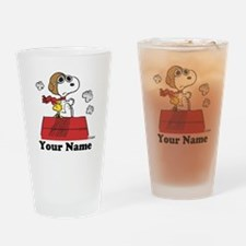 Peanuts Flying Ace Personalized Drinking Glass
