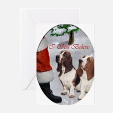 basset hounds christmas text 2 Greeting Cards