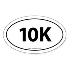 10K Runner Bumper Sticker -White (Oval)