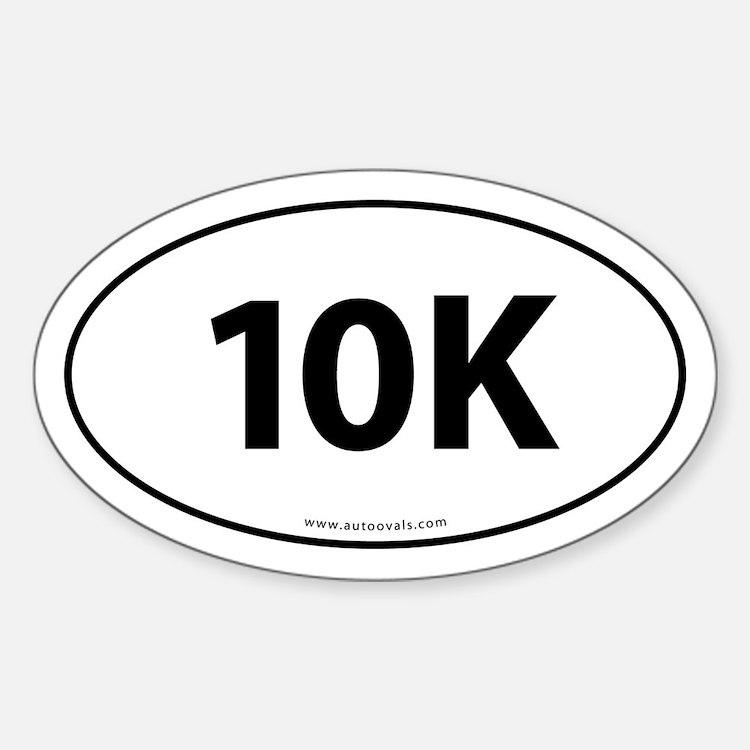 10K Runner Bumper Sticker -White (Oval)