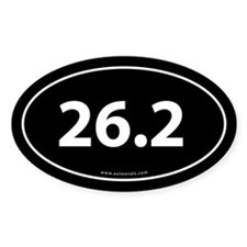 26.2 Marathon Bumper Sticker -Black (Oval)