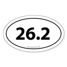 26.2 Marathon Bumper Sticker -White (Oval)