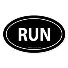 Run Bumper Sticker -Black (Oval)
