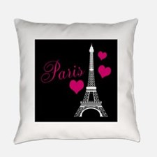 Paris Eiffel Tower in Black Everyday Pillow