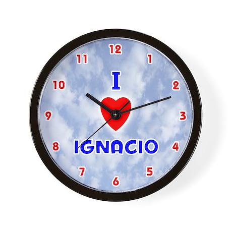 I Love Ignacio (Red/Bl) Valentine Wall Clock