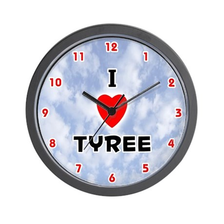 I Love Tyree (Red/Blk) Valentine Wall Clock
