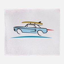 67 Ford Mustang Gone Surfing Throw Blanket