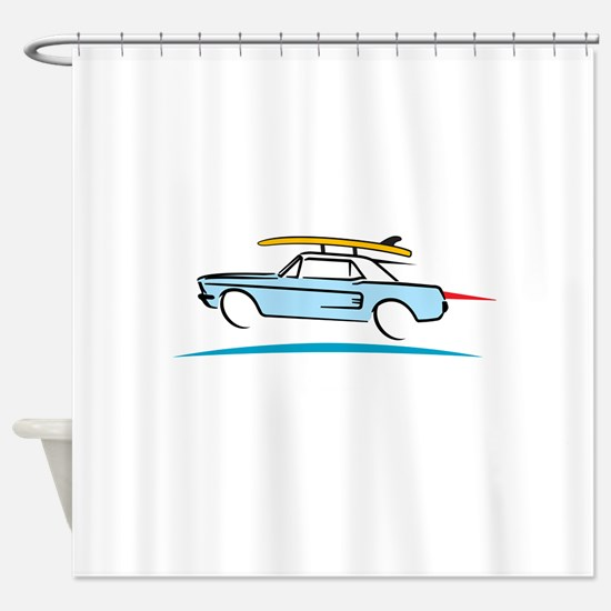 67 Ford Mustang Gone Surfing Shower Curtain