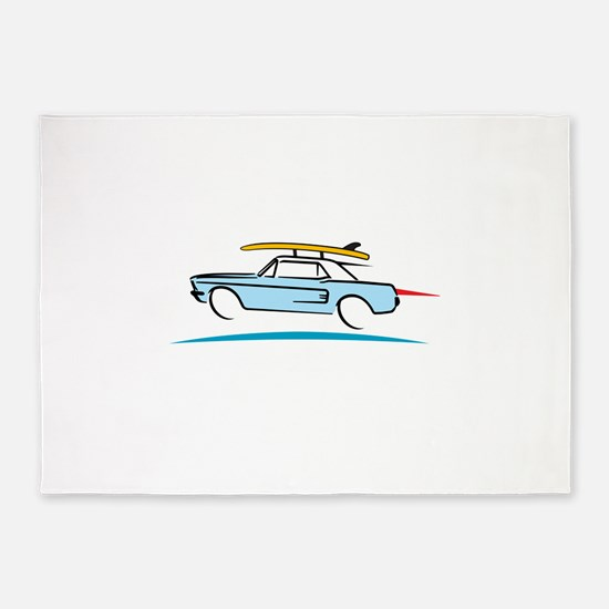 67 Ford Mustang Gone Surfing 5'x7'Area Rug