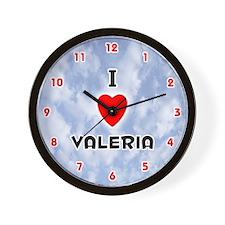 I Love Valeria (Red/Blk) Valentine Wall Clock
