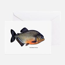Red-Bellied Piranha Fish Greeting Cards (Package o
