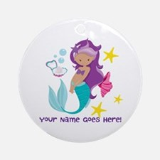 Purple Mermaid Round Ornament