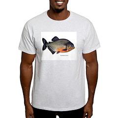 Red-Bellied Piranha Fish Ash Grey T-Shirt