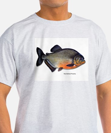 Red-Bellied Piranha Fish (Front) Ash Grey T-Shirt