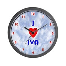 I Love Iva (Red/Bl) Valentine Wall Clock
