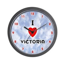 I Love Victoria (Red/Blk) Valentine Wall Clock