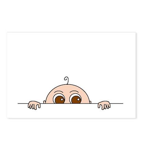 PEEK-A-BOO BABY (BROWN EYES) Postcards (Package of