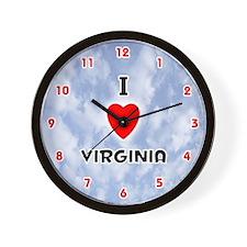 I Love Virginia (Red/Blk) Valentine Wall Clock