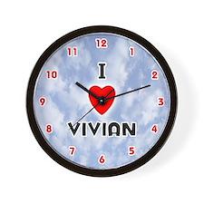 I Love Vivian (Red/Blk) Valentine Wall Clock