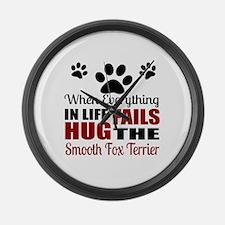 Hug The Smooth Fox Terrier Large Wall Clock