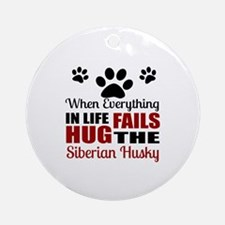 Hug The Siberian Husky Round Ornament