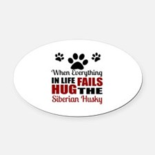 Hug The Siberian Husky Oval Car Magnet