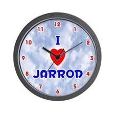 I Love Jarrod (Red/Bl) Valentine Wall Clock