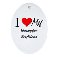 I Love My Norwegian Boyfriend Oval Ornament