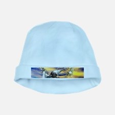 Dolphin jumping by a heart mad of flowers baby hat