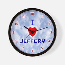 I Love Jeffery (Red/Bl) Valentine Wall Clock