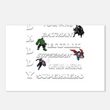 Daddy Superhero T Shirt Postcards (Package of 8)