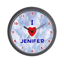 I Love Jenifer (Red/Bl) Valentine Wall Clock