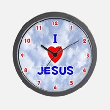 I Love Jesus (Red/Bl) Valentine Wall Clock