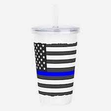 US Flag Blue Line Acrylic Double-wall Tumbler