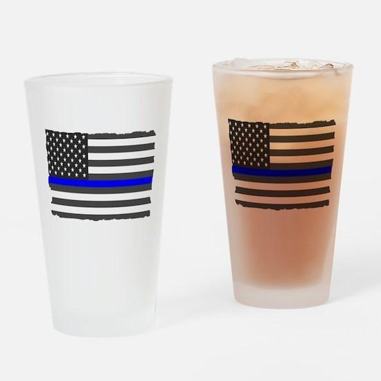 US Flag Blue Line Drinking Glass