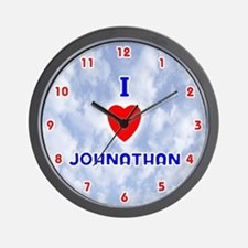 I Love Johnathan (Red/Bl) Valentine Wall Clock