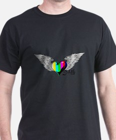 Winged Color Bar Heart T-Shirt