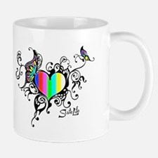 Frilled Color Bar Heart Mugs