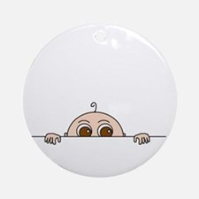 PEEK-A-BOO BABY (BROWN EYES) Ornament (Round)