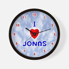 I Love Jonas (Red/Bl) Valentine Wall Clock
