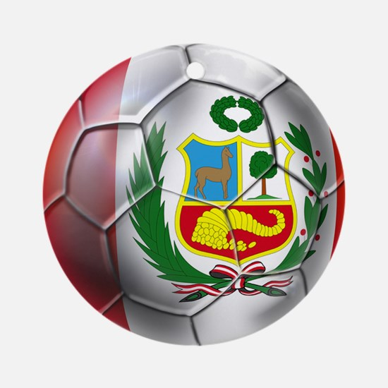 Peru Soccer Ball Round Ornament