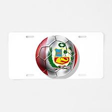 Peru Soccer Ball Aluminum License Plate