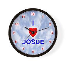 I Love Josue (Red/Bl) Valentine Wall Clock