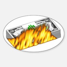 Burning Money Rectangle Decal