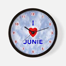 I Love Junie (Red/Bl) Valentine Wall Clock