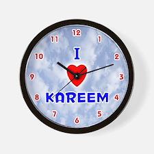 I Love Kareem (Red/Bl) Valentine Wall Clock