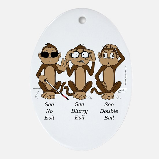 See No Evil Oval Ornament